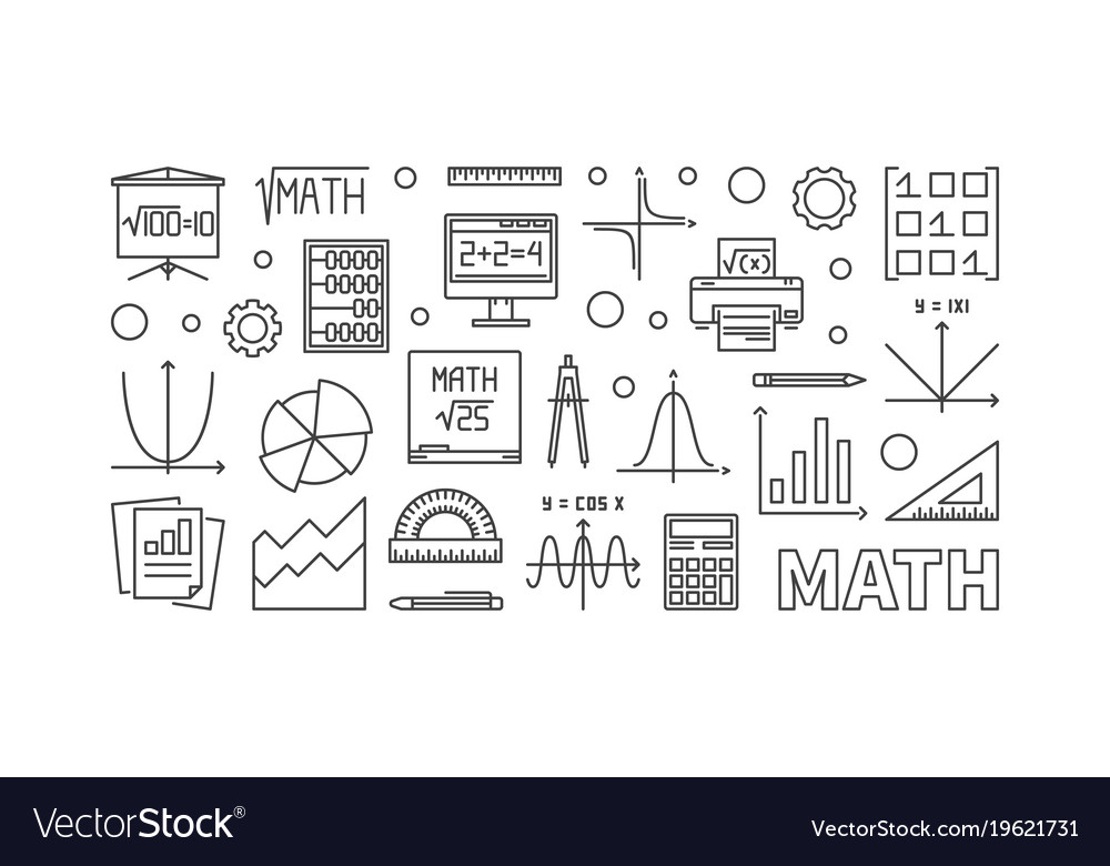 Math education concept horizontal banner Vector Image