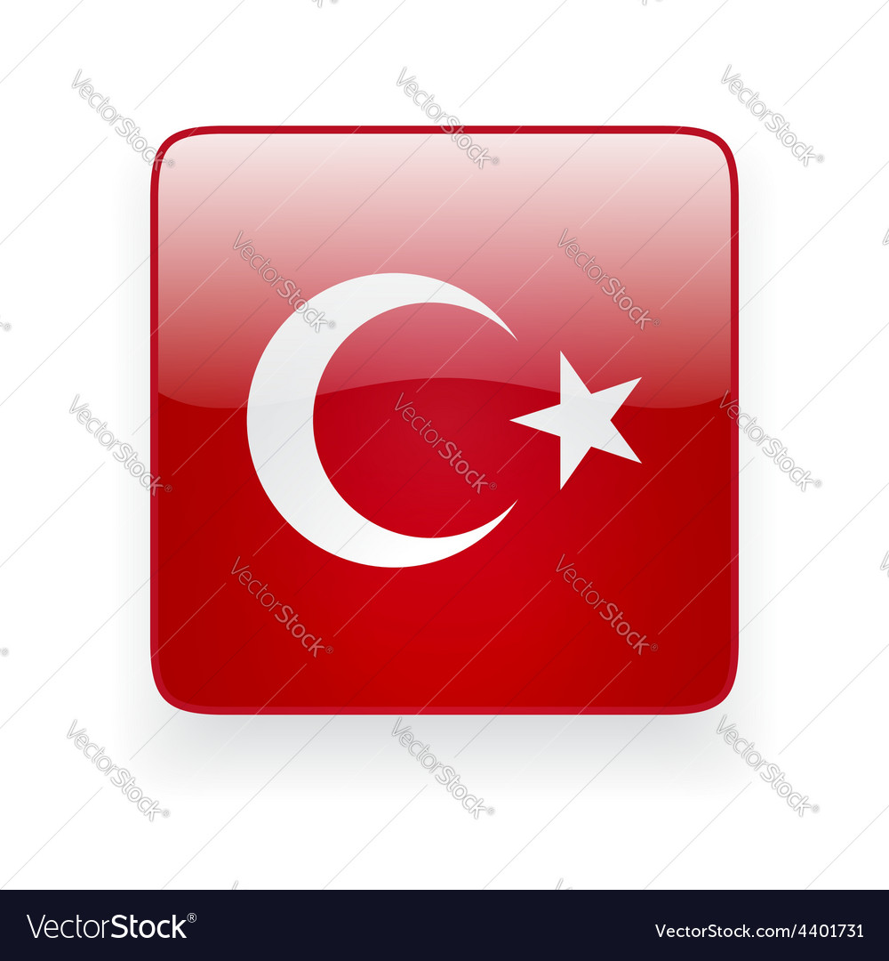 Square icon with flag of Turkey