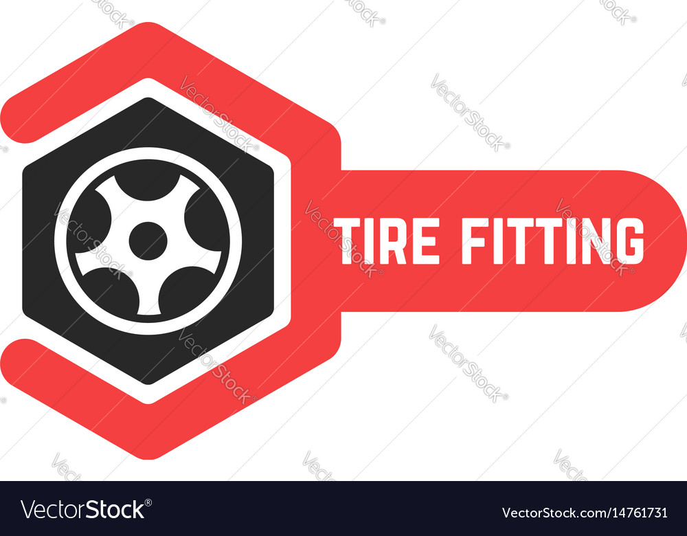 Tire fitting logo with wrench