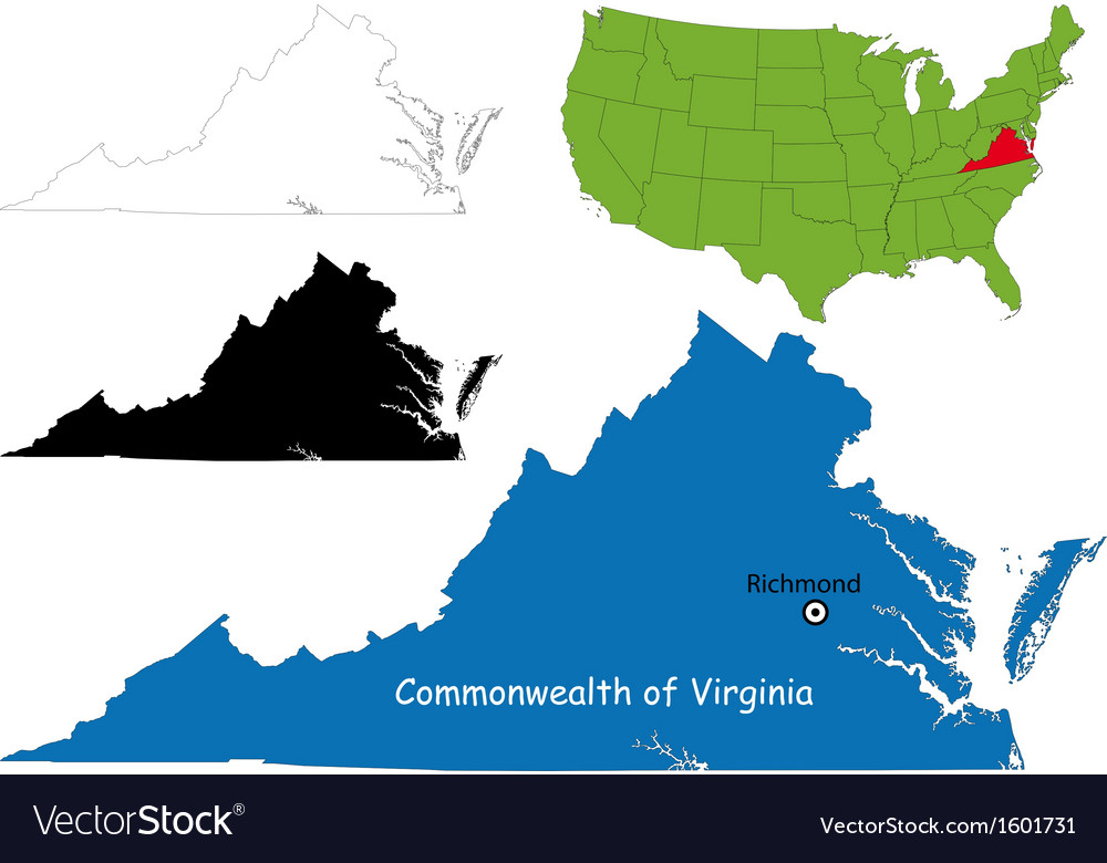 Virginia map vector image