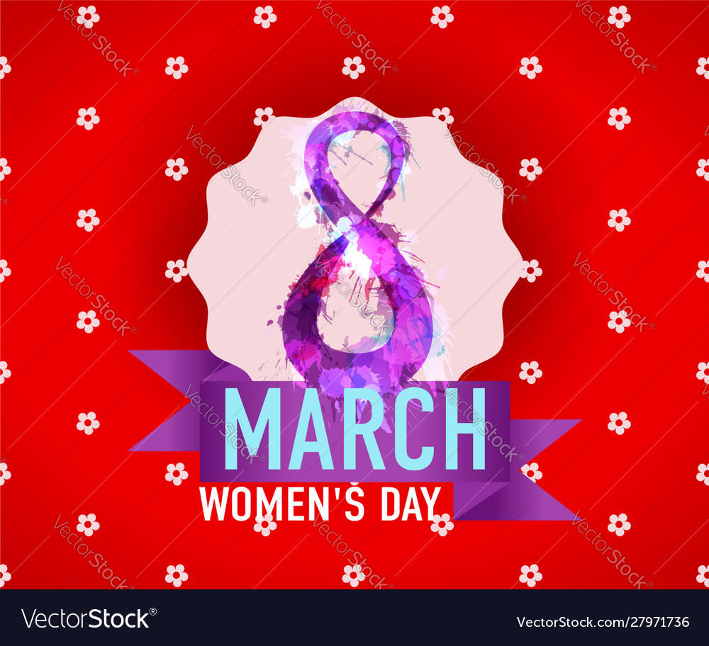 8 march international womans day greeting card