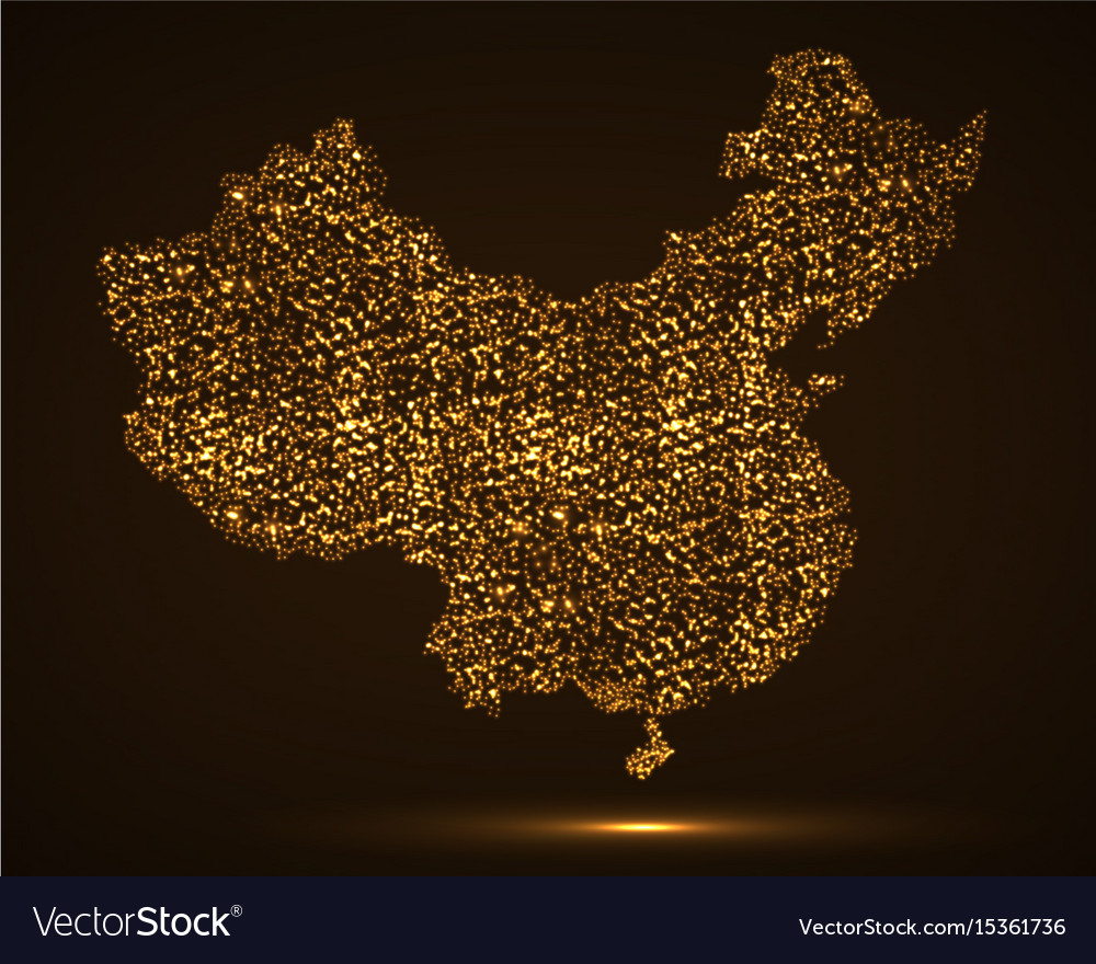 Abstract map of china with glowing particles