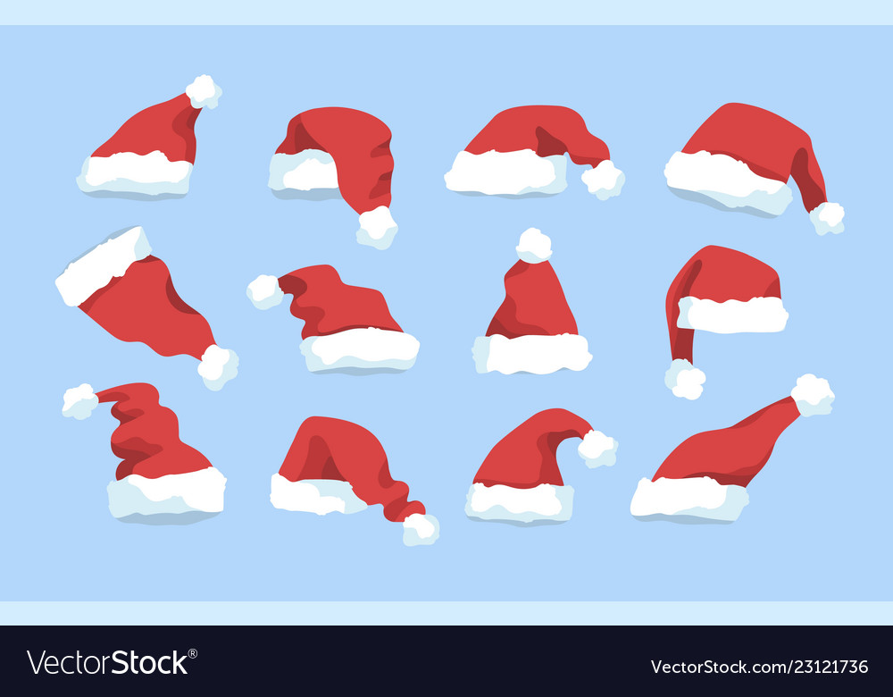 Collection of santa claus red winter hats isolated