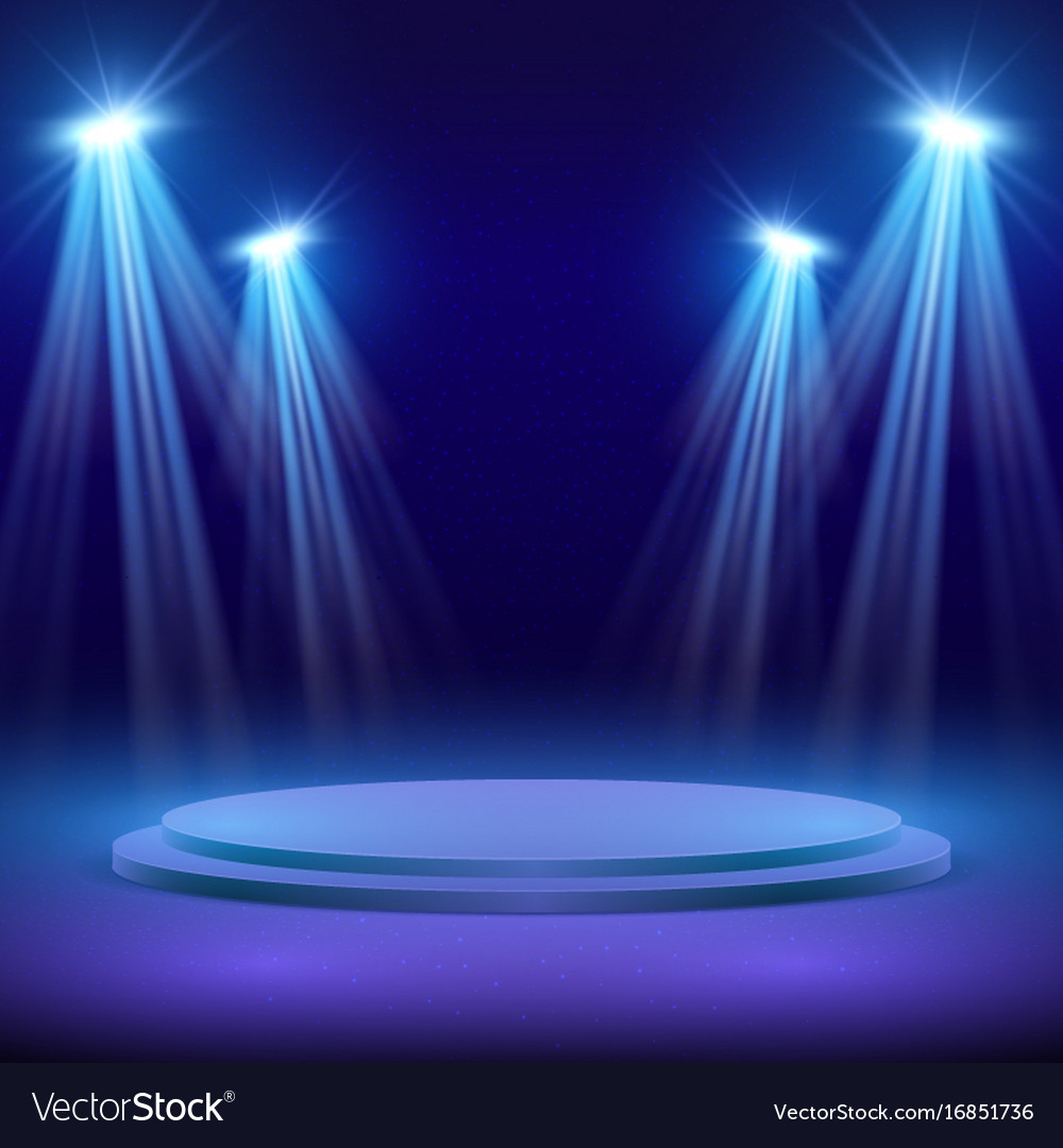 Concert stage with spot light lighting show vector image
