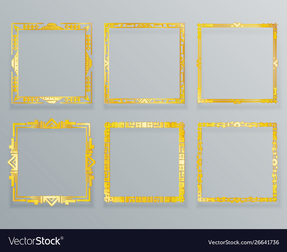 Gold ethnic design decorative geometric foil