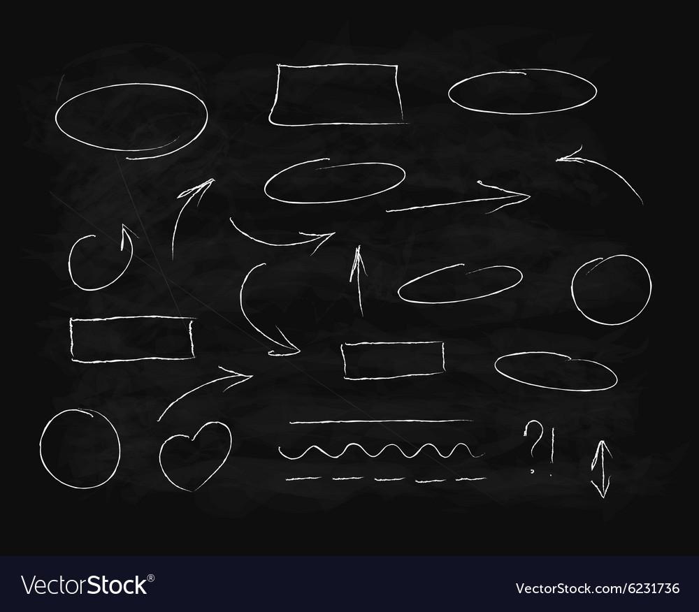 Hand-drawn chalk scribble design elements
