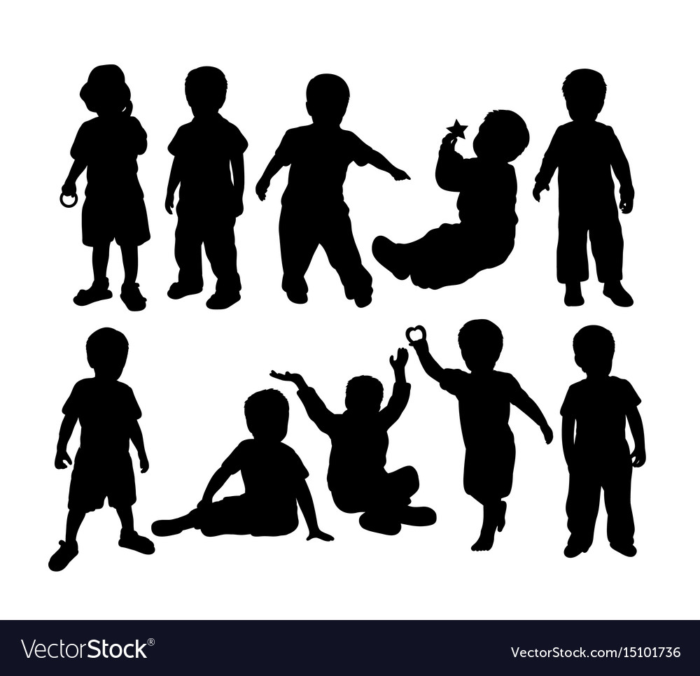 Happy kids activity silhouettes