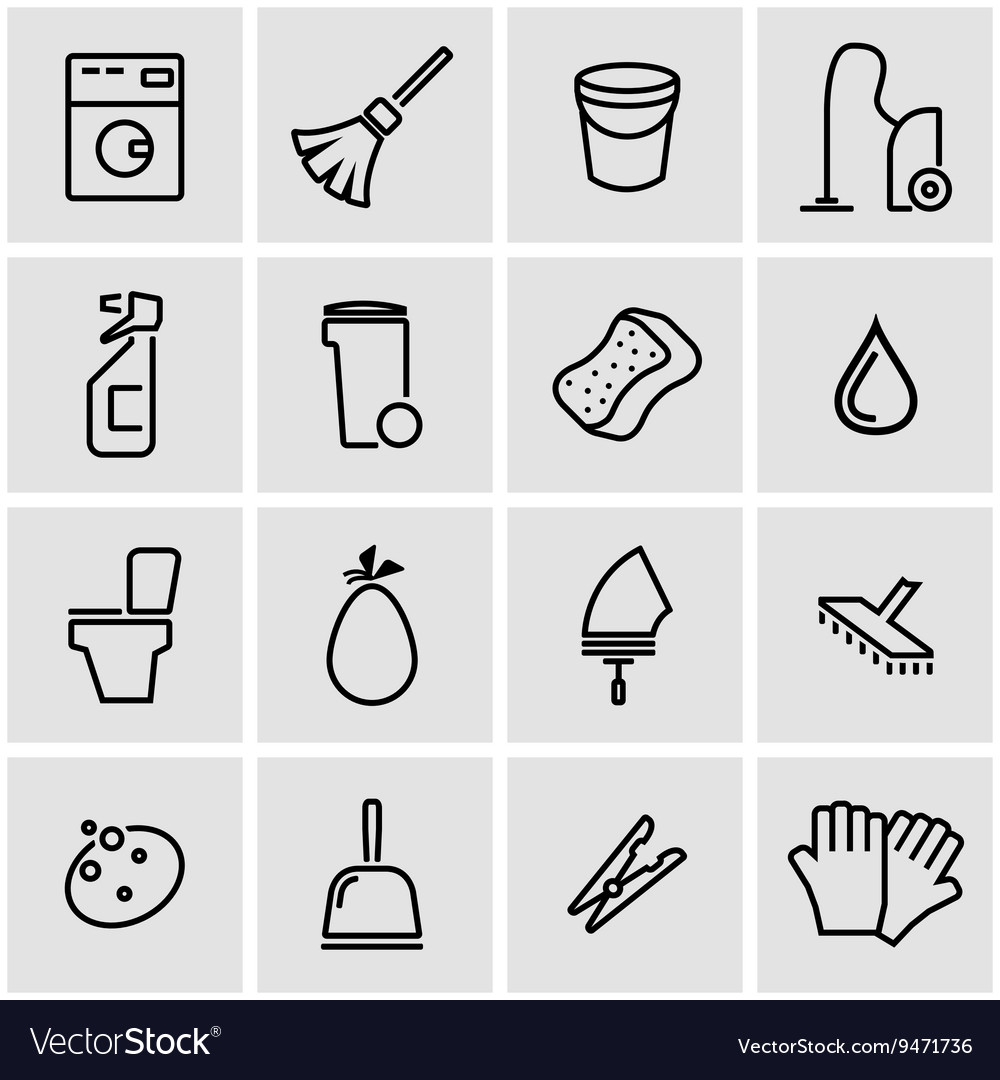 Line cleaning icon set