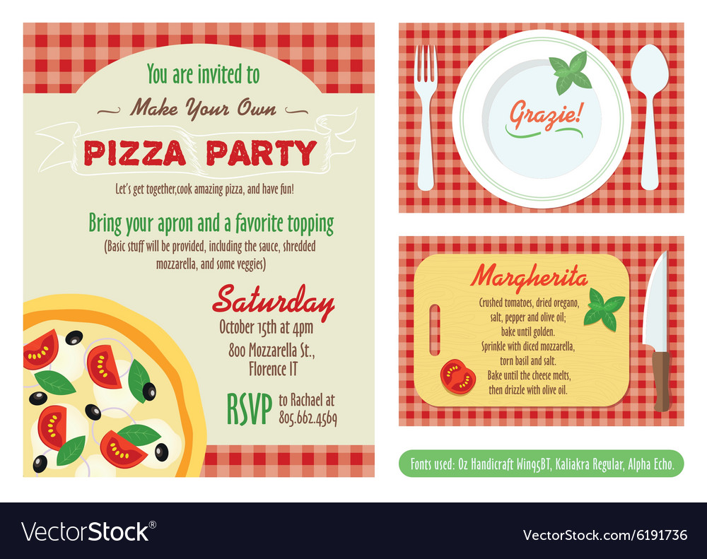 Pizza Party Invitation Set Vector Image