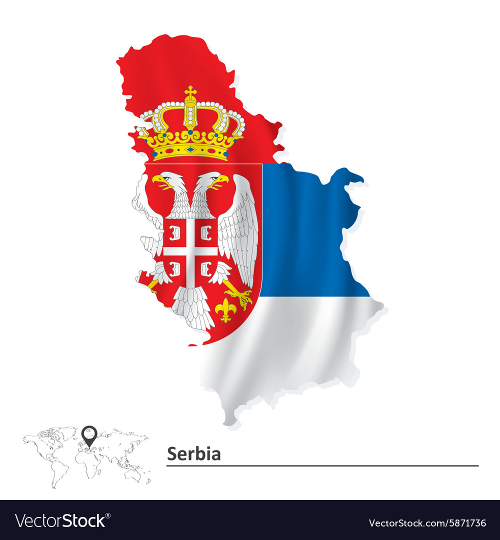 Map of Serbia with flag