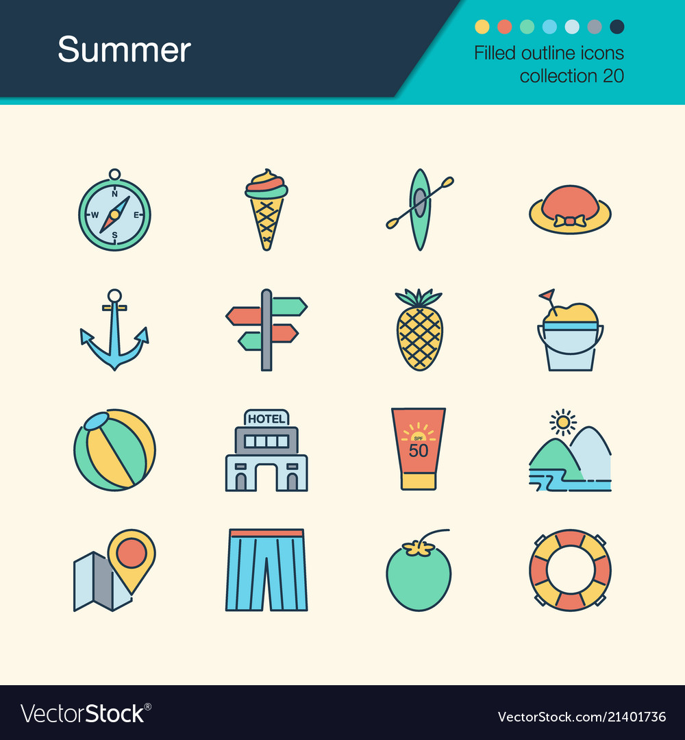 Summer icons filled outline design collection 20