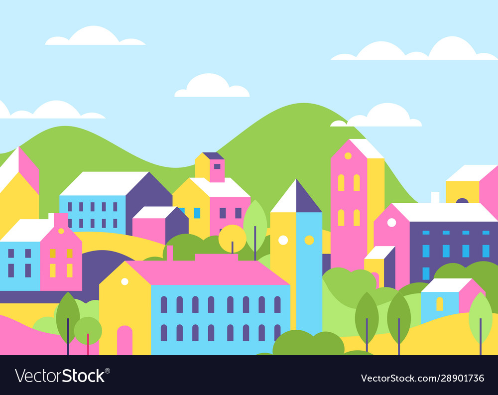 Town houses architecture bright color flat