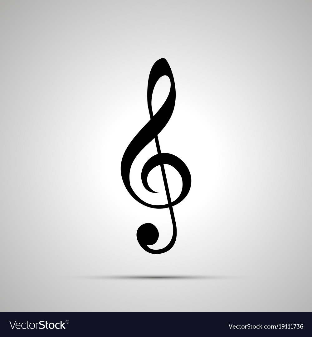 Treble clef silhouette simple black icon vector image