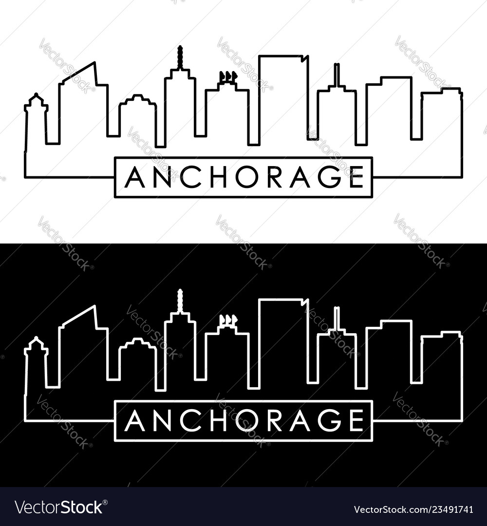 Anchorage skyline linear style editable file