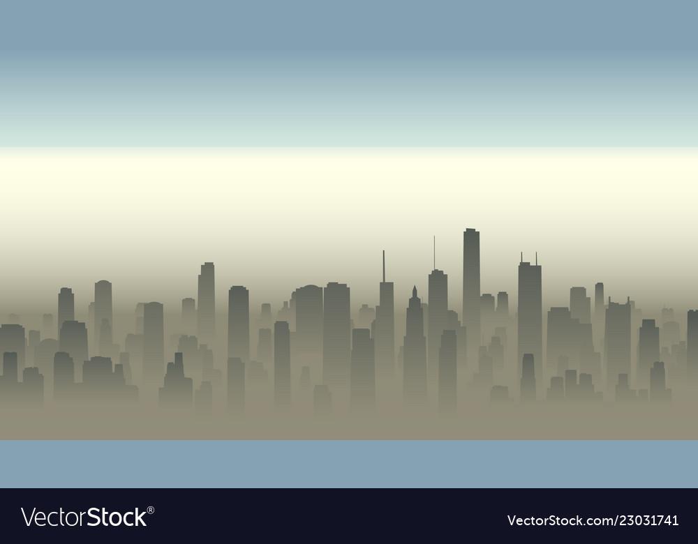 Big city in haze