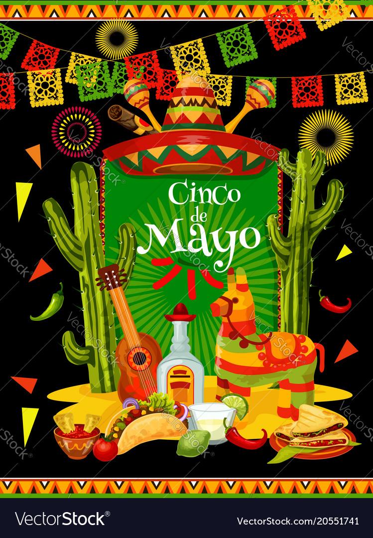 cinco de mayo banner for mexican party invitation vector image