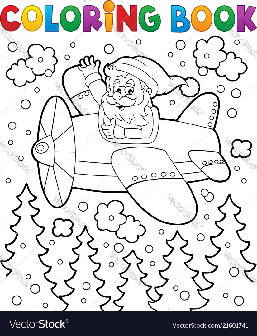 coloring book santa claus in plane vector image