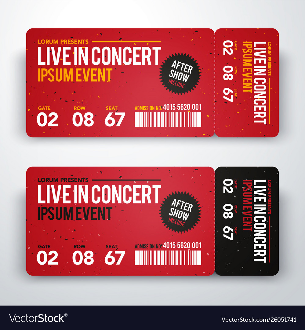 Concert ticket design template for party festival Vector Image