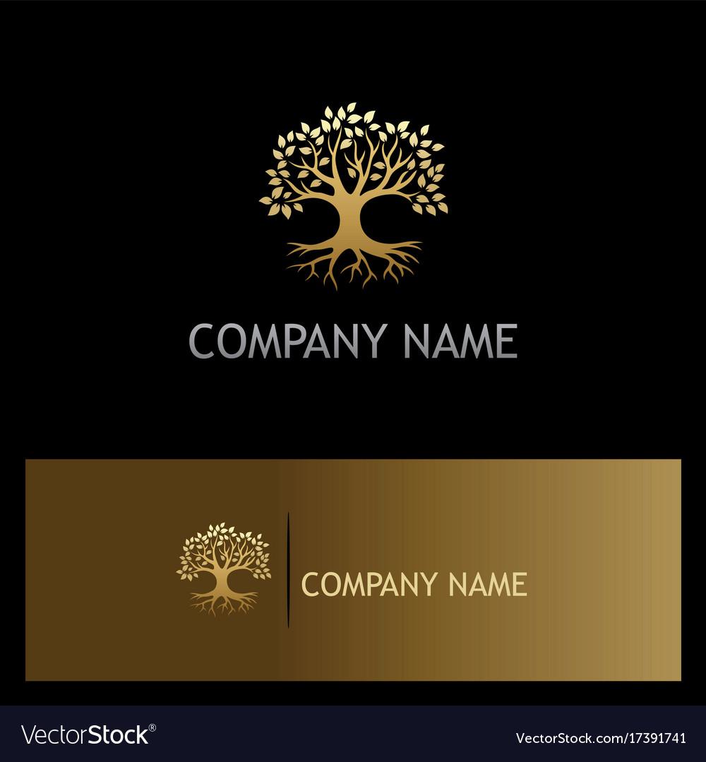Gold Oak Tree Botany Eco Logo Vector Image