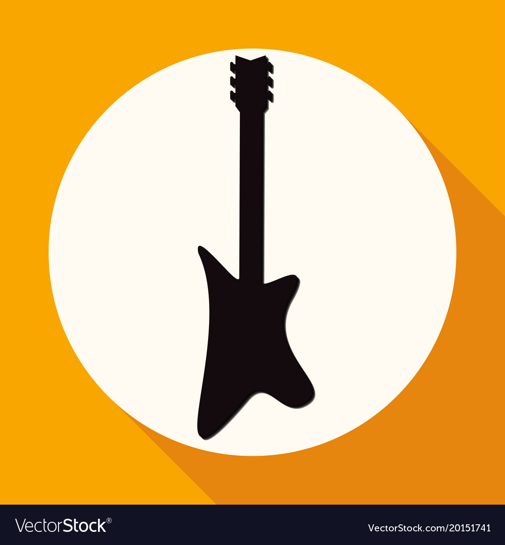 Guitar icon on white circle with a long shadow vector image