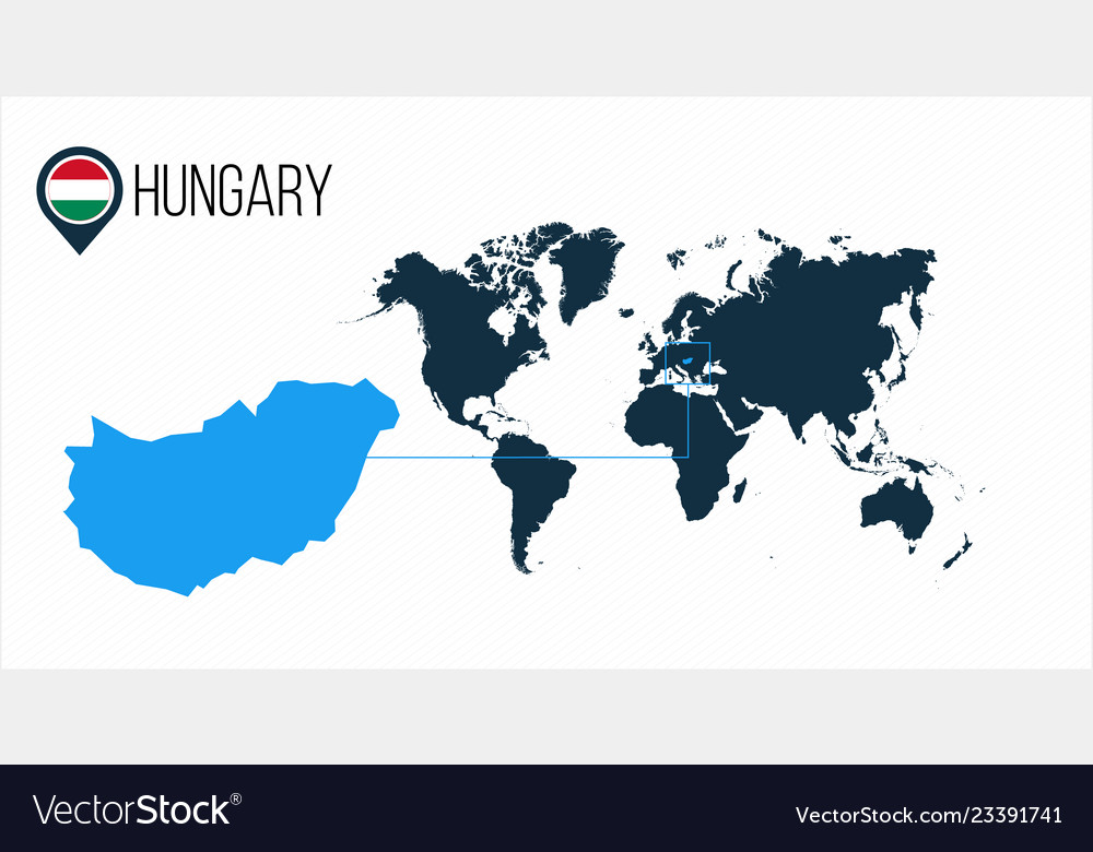 Hungary Location On The World Map For Royalty Free Vector