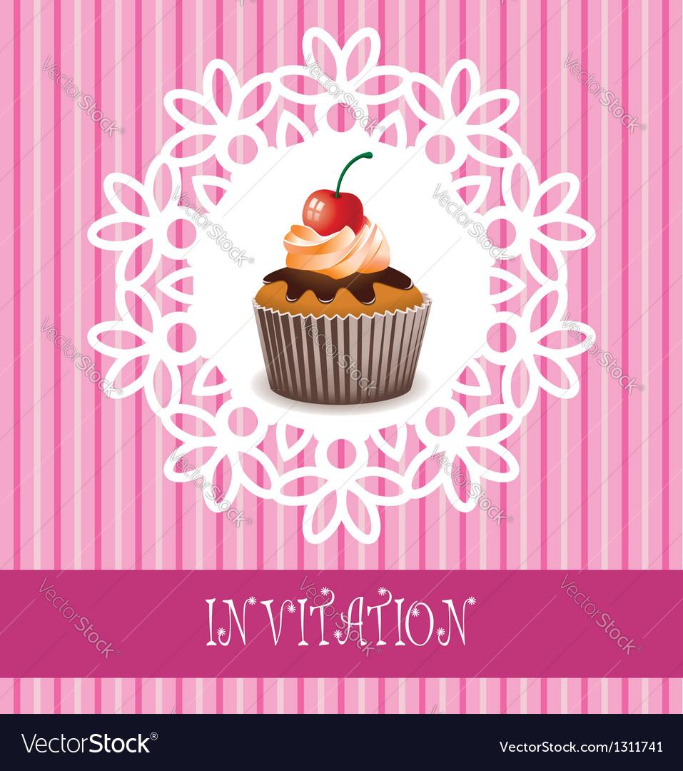 Invitation card with cupcake