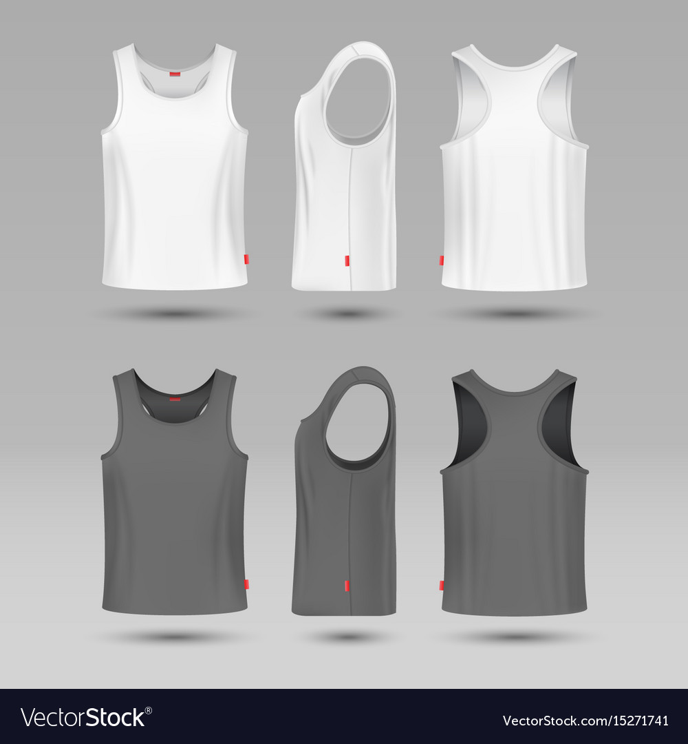 Mans white blank tank singlet male shirt without