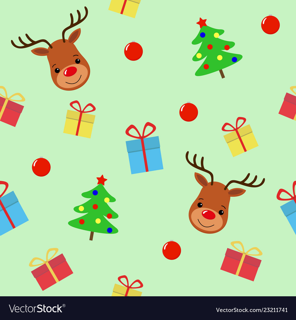 Merry christmas with deer seamless pattern