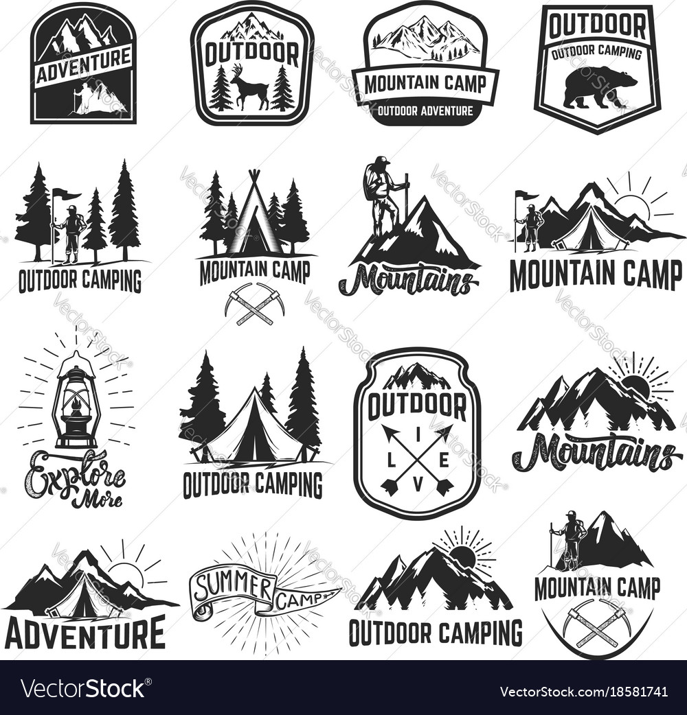 Set of camping emblems isolated on white