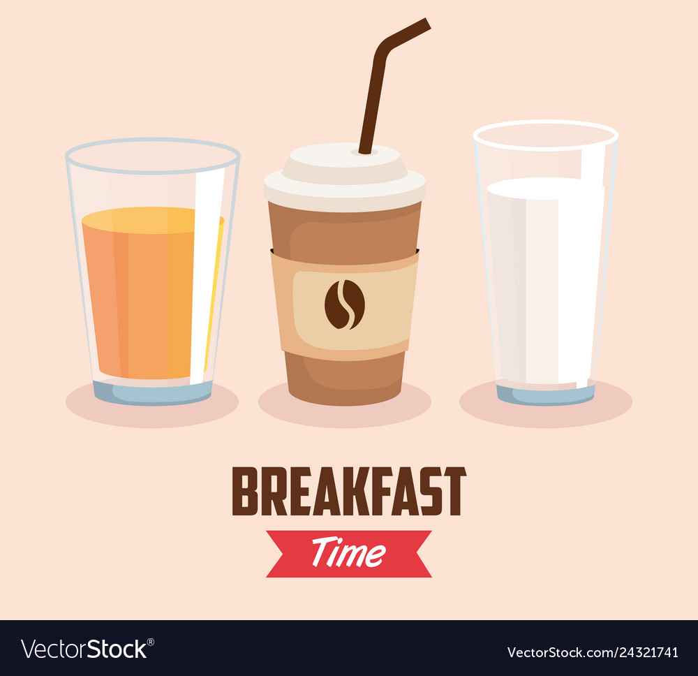 Set Orange Juice With Coffee Cup And Milk Glass Vector Image
