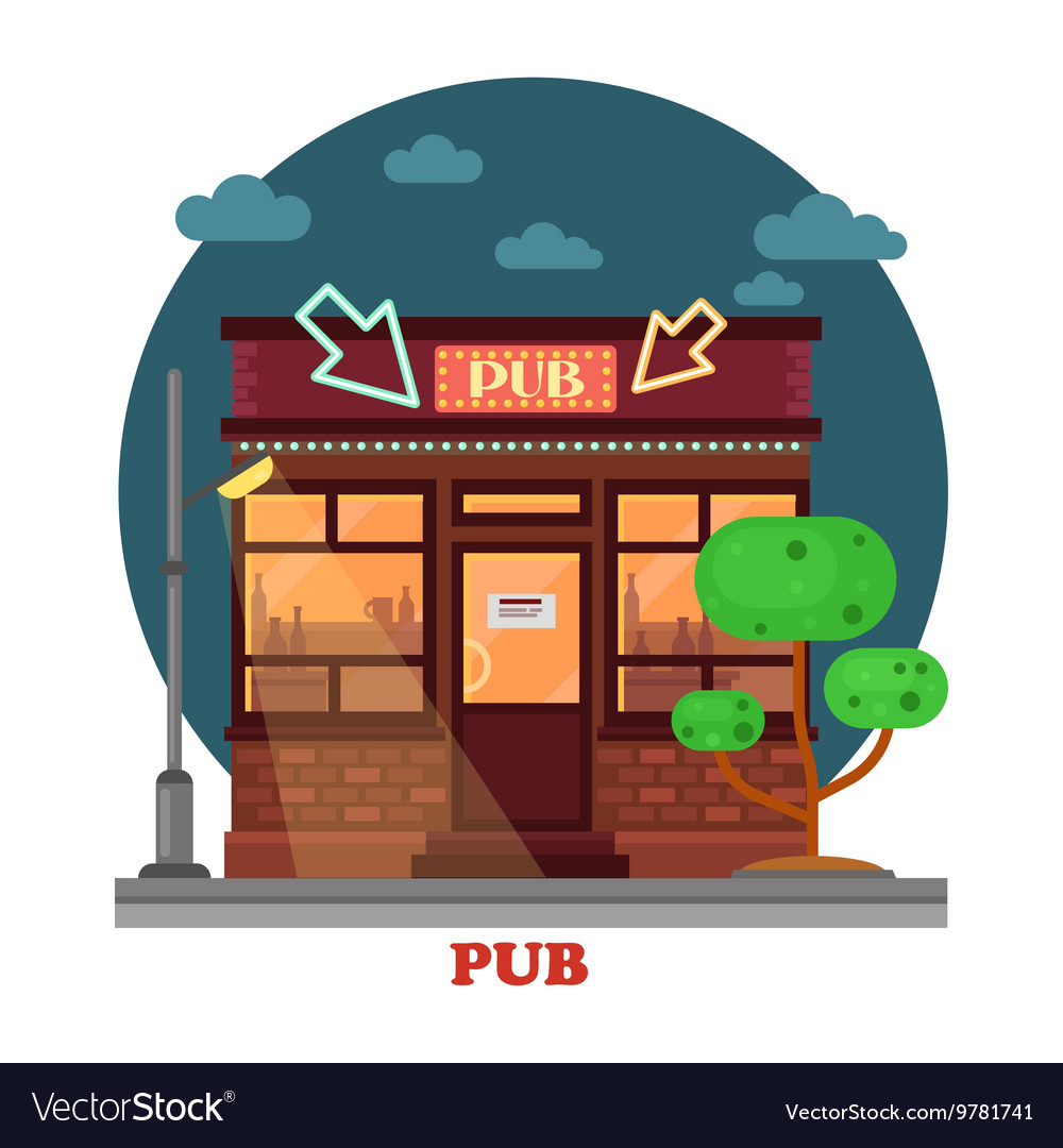 Side street view on night pub with aclohol