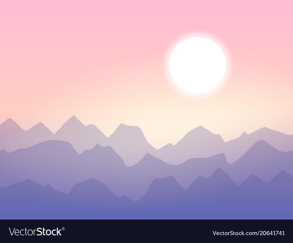 Sunrise in the mountains minimalistic