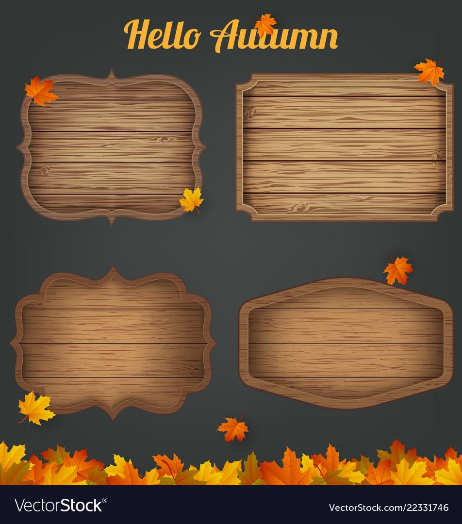 4 realistic wooden signs set decoration elements
