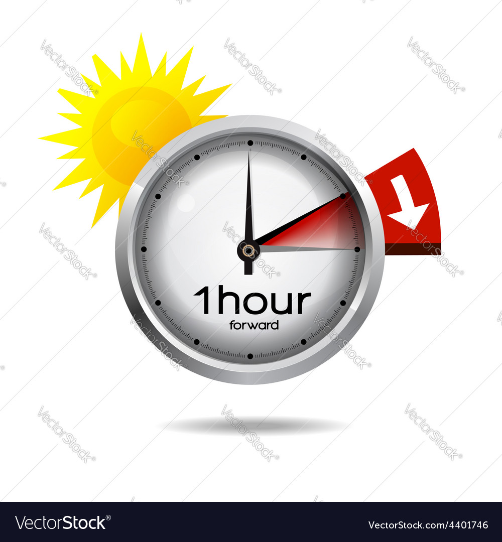 Clock switch to summer time daylight saving time vector image