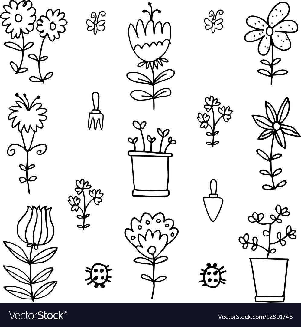 Doodle Of Spring Flower With Hand Draw Royalty Free Vector