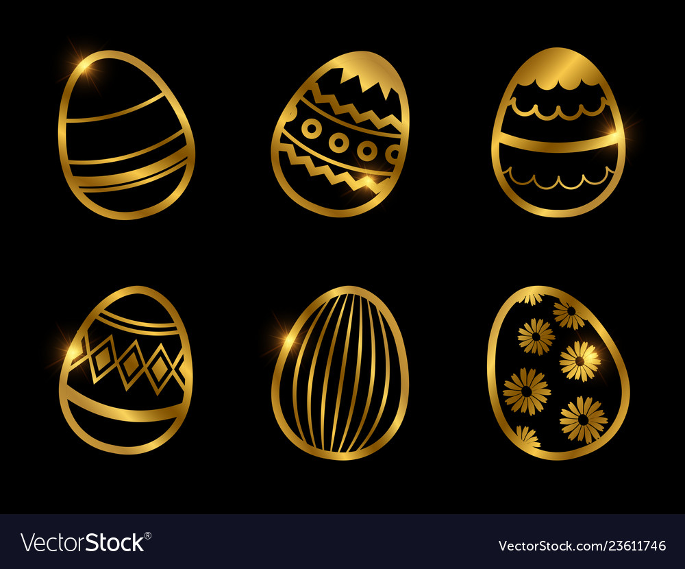 Golden decorative eggs icons isolated on black