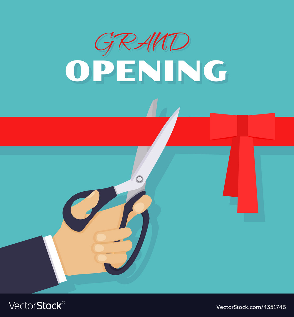 Grand opening Scissors cut red ribbon vector image