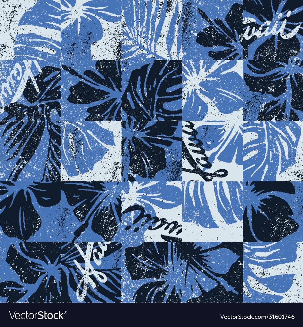 Hawaiian hibiscus flowers vintage patchwork