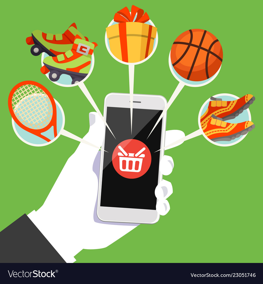 Human hand smart phone shop basket goods icon