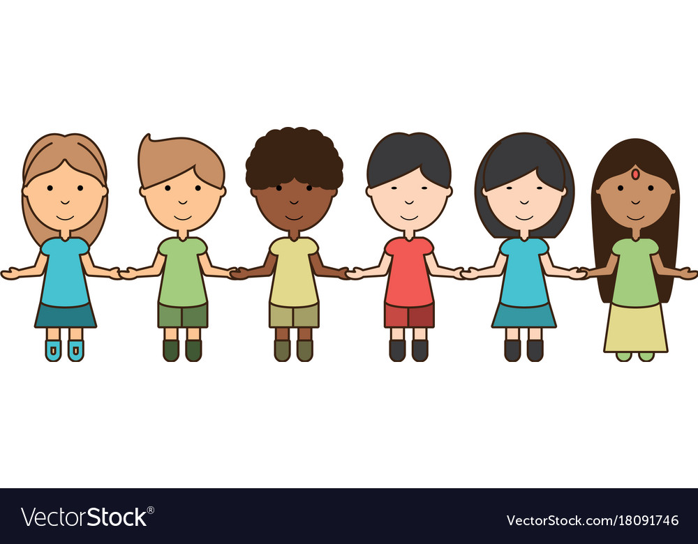 Kids Holding Hands Icon Royalty Free Vector Image