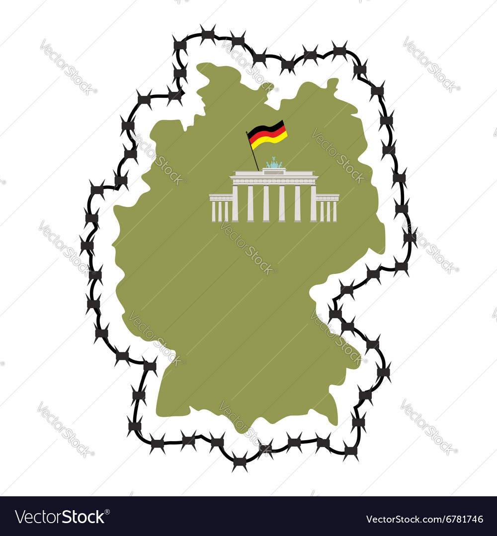 Germany Map With States.Map Of Germany Map Of States With Barbed Wire Vector Image