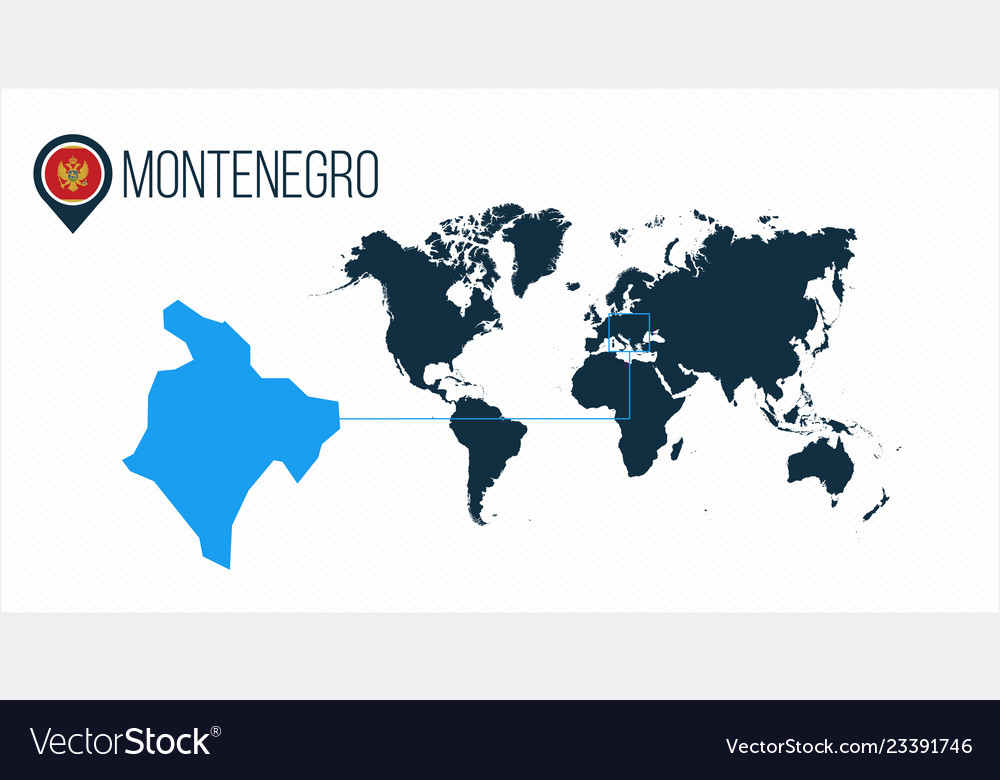 Montenegro Location On The World Map For Vector Image
