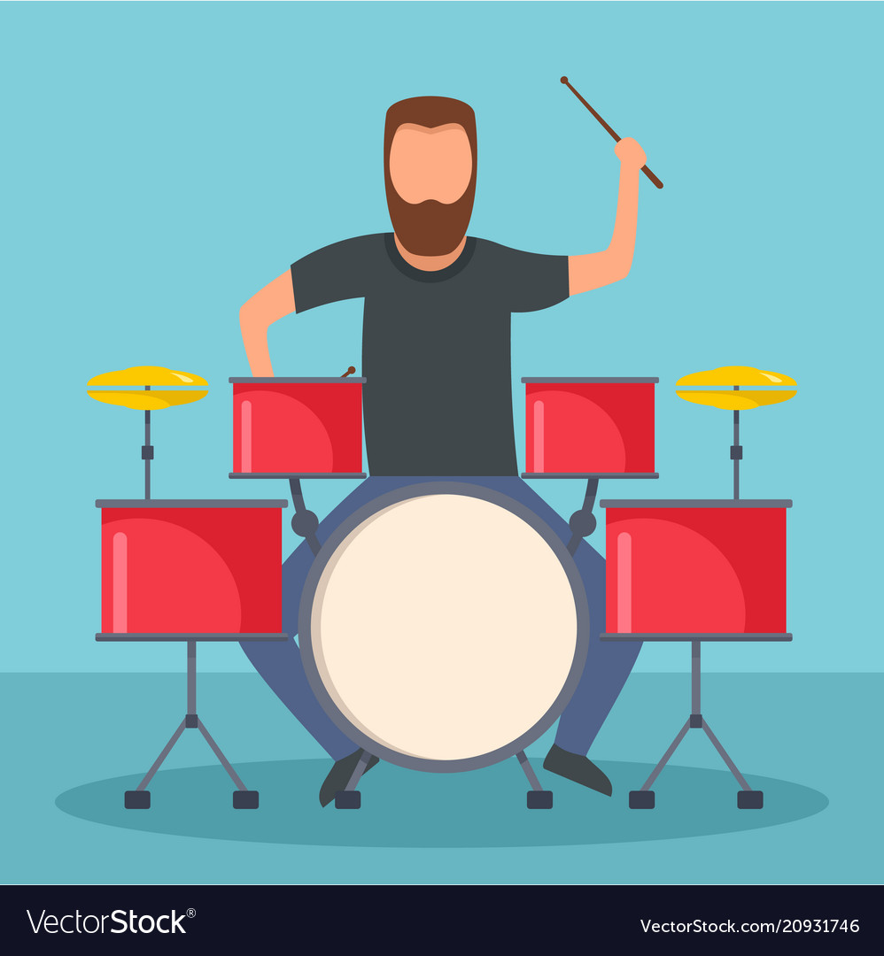 Rock drummer icon flat style