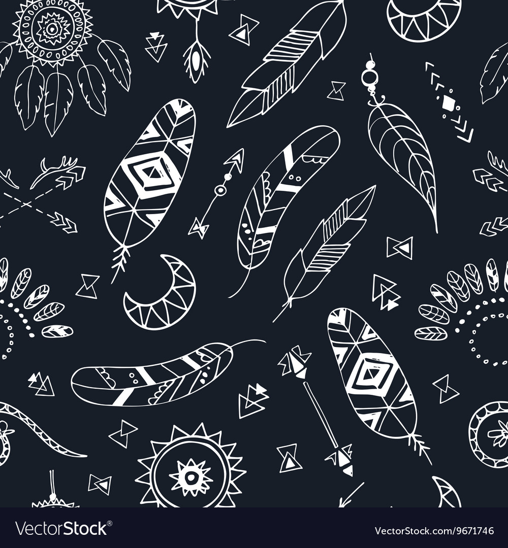 Seamless pattern with Boho Chic Style Elements