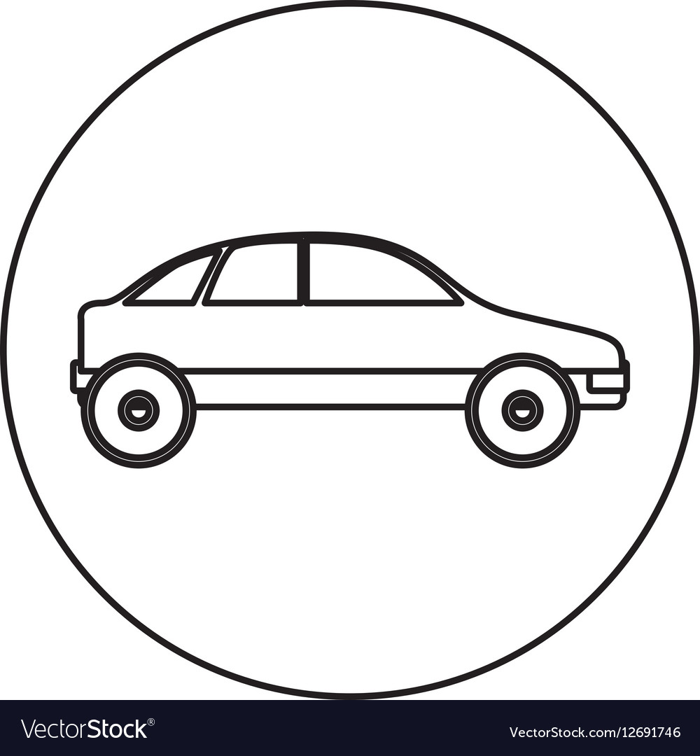 Silhouette circular shape with vehicle vector image