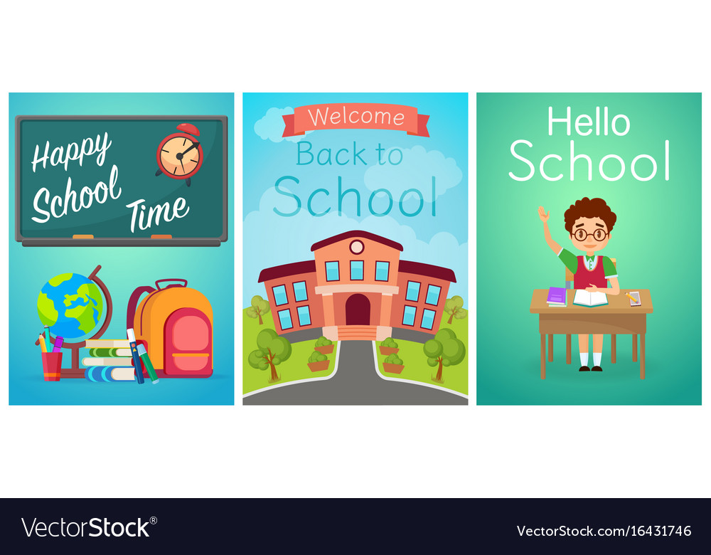 Welcome back to school cute school kids templates vector image