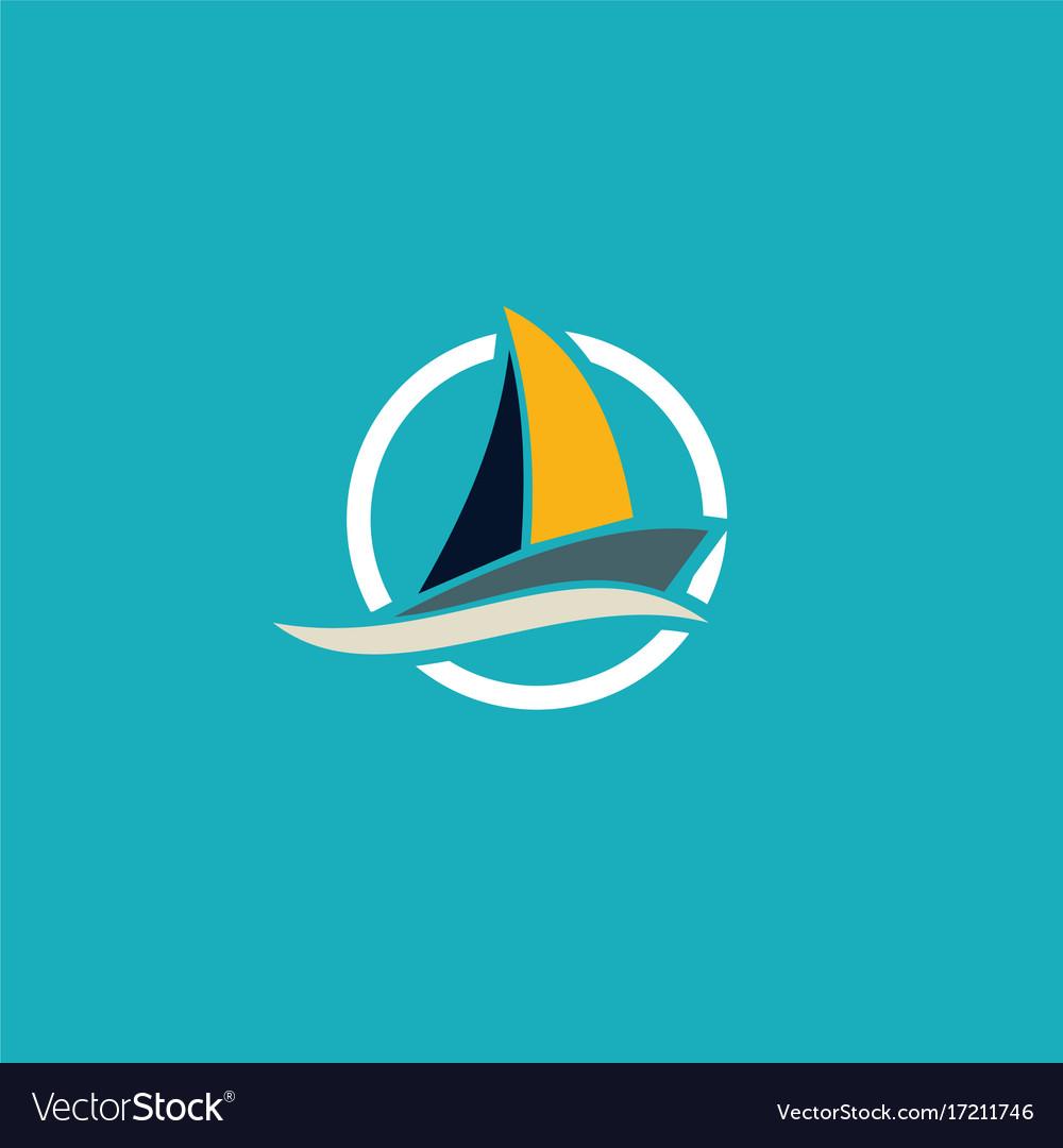 Yacht travel ocean logo