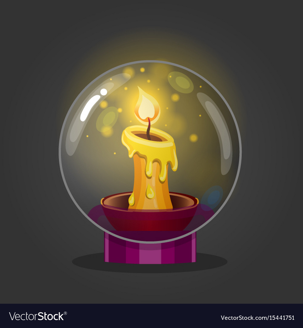 Burning candle in a glass bowl vector image