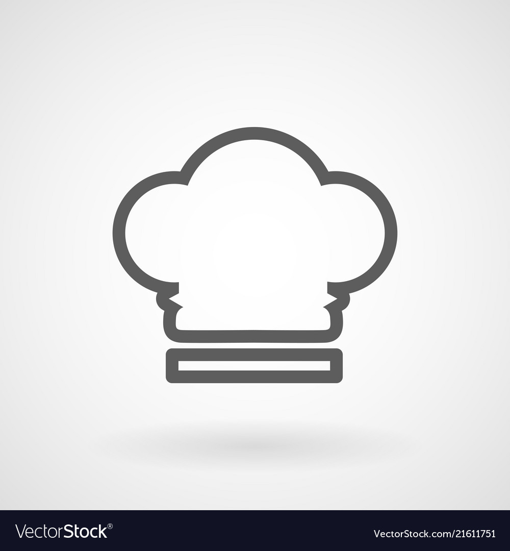 Chef hat line icon on white background