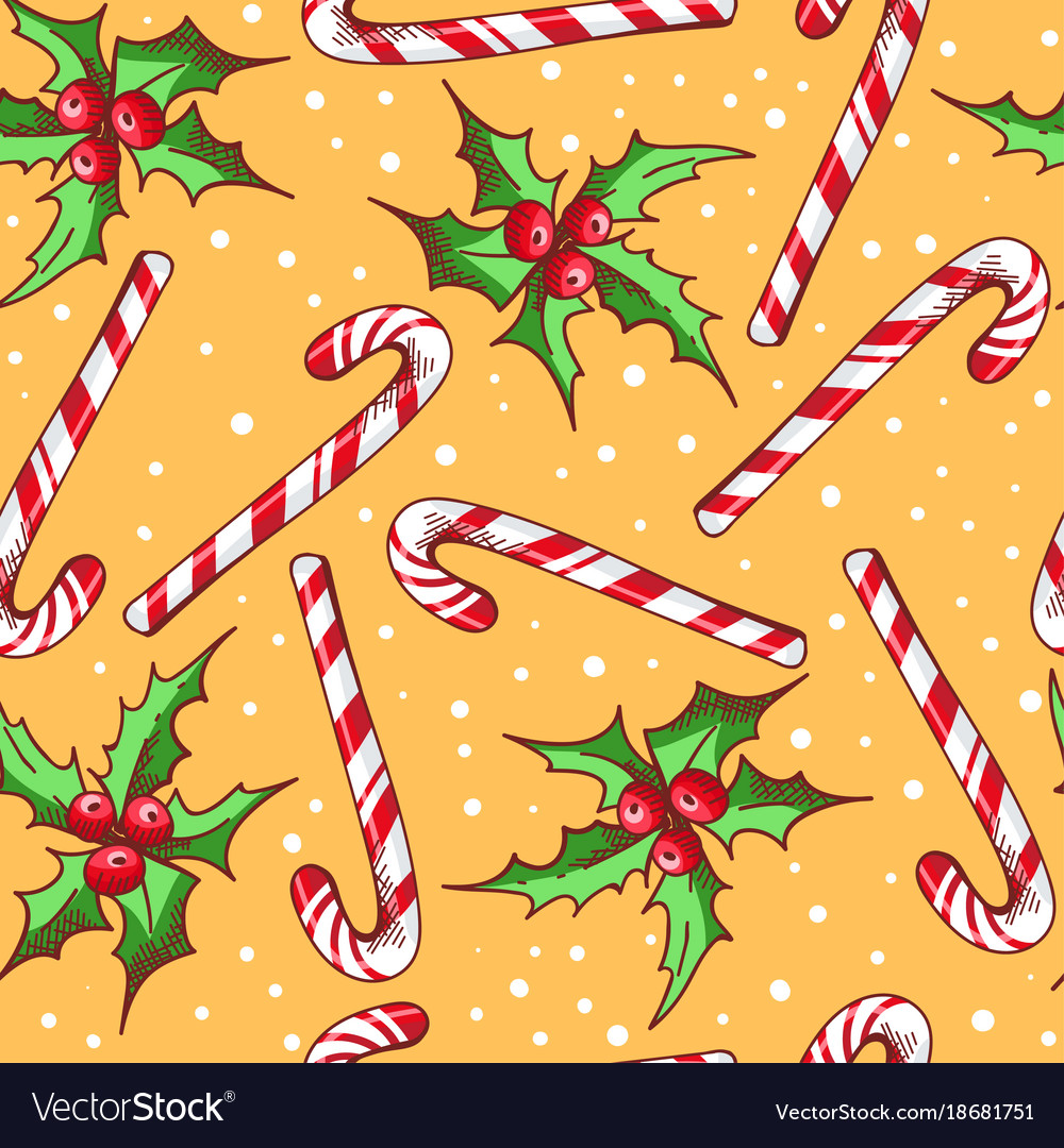 Christmas seamless pattern with candy